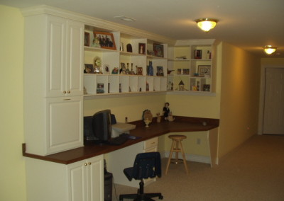 Homework space and craft area. Antique white melamine with hardworking, wood grain laminate desktop.